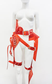 Jivomir Domoustchiev  Multi buckle harness belt transparent red