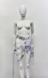 Jivomir Domoustchiev  Multi buckle harness belt clear ransparent