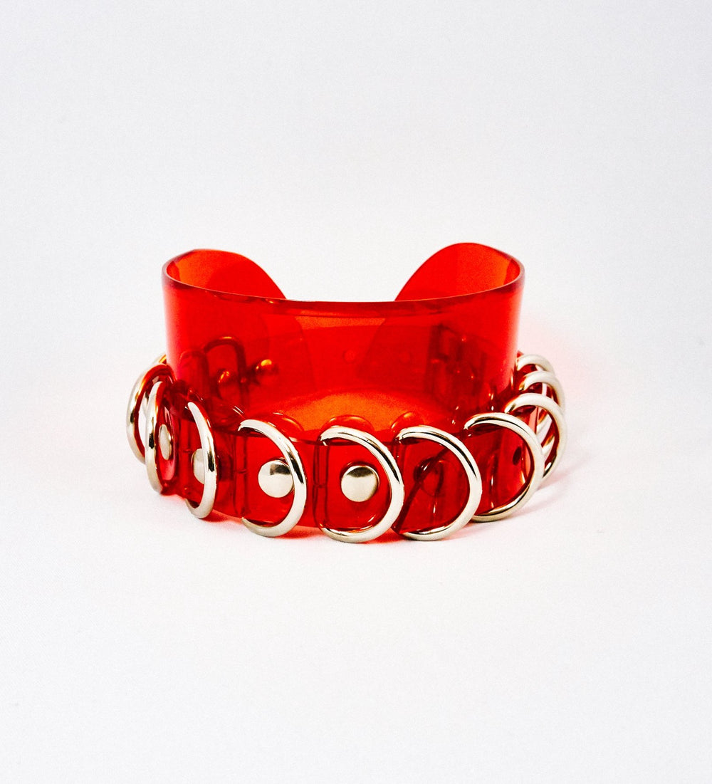 Silver tone finish on multi ring Chocker Transparent Red Vinyl Jivomir Domoustchiev