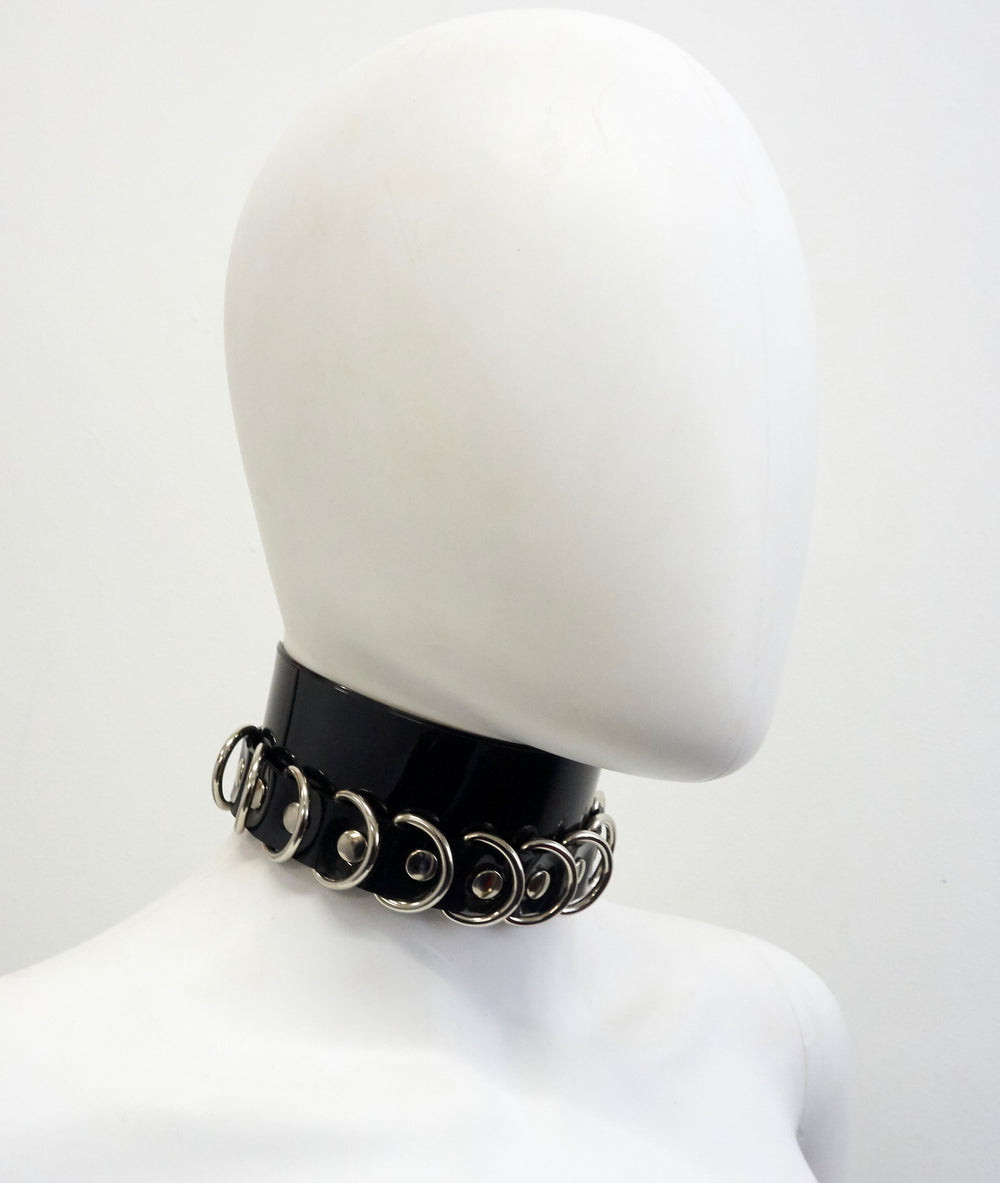 Silver tone finish on multi ring Chocker Jivomir Domoustchiev