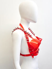 Jivomir Domoustchiev multi ring heart shaped sculpture bra ❤️Bustier transparent love red