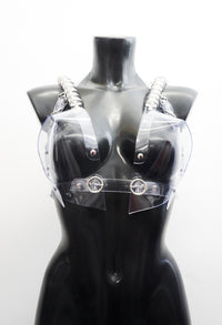 Jivomir Domoustchiev multi ring heart shaped sculpture bra ❤️Bustier transparent love clear