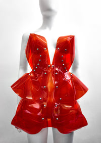 Jivomir Domoustchiev Little red dress. Stand out in the crowd with this stunning must have mini sculpture dress. Perfectly formed and absolutely stunning shown warn with the matching clear helmet available separately can be made in a variety of stunning colours