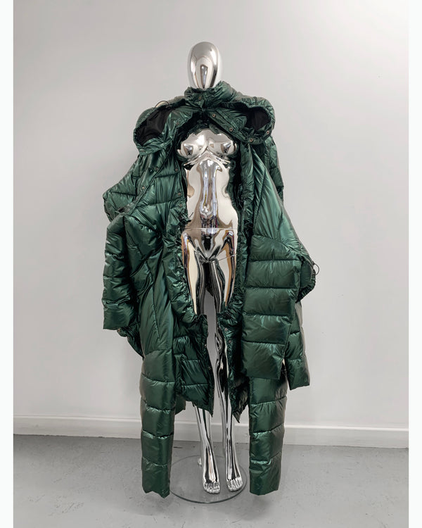 Jivomir Domoustchiev repurposed re designed sculpture future fashion hand crated from unwanted garments puffs coat  puffer coat winter coat  sculpture design future fashion redesign