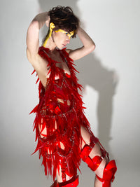 Jivomir Domoustchiev Tassel Chain Dress in off cuts vegan vinyl hand crafted to order in London