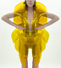 Jivomir Domoustchiev morphed transparent vegan vinyl pure Sculpture Galaxy coat. Beauty in symmetry artistic future expression