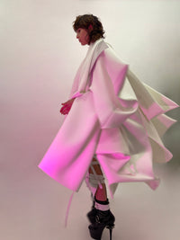 Jivomir Domoustchiev Waves Star coat. 'Onna Bugeisha' Collection. Beautyifully asymmetric.   An artistic expression. Crafted to order in raw edge neoprene and available in a verity of colours