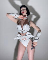 Jivomir Domoustchiev High Waist Strap Thong vegan vinyl kink latex cosplay fetish with chain Superhero set