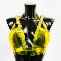 clear yellow Jivomir Domoustchiev multi ring heart shaped sculpture bra ❤️Bustier transparent love black vegan vinyl