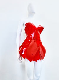 Jivomir Domoustchiev vegan vinyl mini little red dres