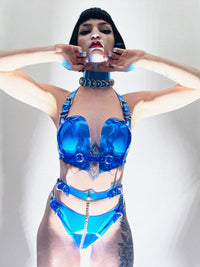 Jivomir Domoustchiev vegan vinyl sculpture fashion accessories hand crafted made in London kink avant garden future luxury mask bra thong belt gloves chocker transparent clear red black white blue orange ring harness kink latex vegan love fashion