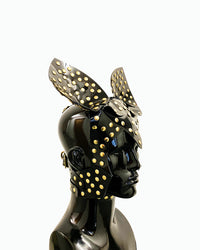 Vegan vinyl spirit animal studded kink role-play anime headpiece mask carnival rabbit cat eagle wolf dog ring Jivomir Domoustchiev