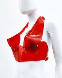 Jivomir Domoustchiev vegan vinyl sculpture fashion accessories hand crafted made in London kink avant garden future  luxury mask bra thong belt gloves chocker transparent clear red black white blue orange ring  harness