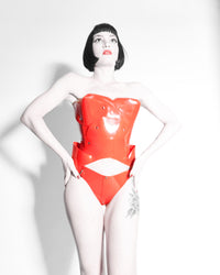 Jivomir Domoustchiev vegan vinyl Sculpture Bustier red love transparent kink fetishh latex love must have valentines
