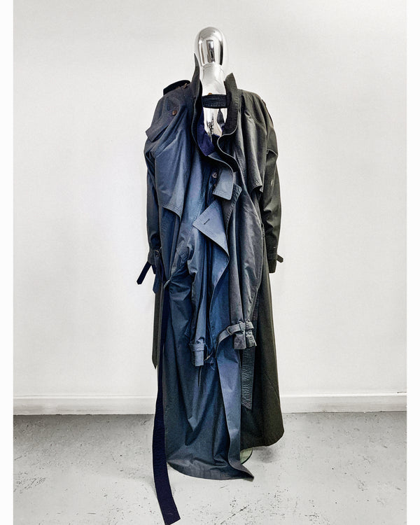 Triple Trench cotton Reimagined trench coat Hand crafted to order  Jivomir Domoustchiev ultimate must have trench coat