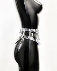 Jivomir Domoustchiev High Waist Strap Thong vegan vinyl kink latex cosplay fetish with chain
