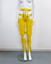 Jivomir Domoustchiev Full Robot Leg Harness in vegan vinyl pure robot style future Dixie D'Amelo perfect styling to create full  look worn as belt or full look