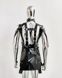 Jivomir Domoustchiev PVC vegan Vinyl Future Gladiator multi buckle harness dress