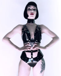 Robo Hipster Set ❤️ Jivomir Domoustchiev vegan vinyl hand crafted accessories kink must have luxury love transparent clear bra and knickers love design rave clubbing must have latex fetish cosplay