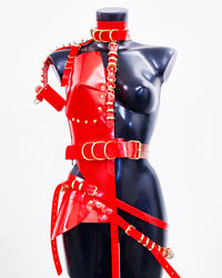 Jivomir Domoustchiev vegan vinyl hand body armour multi ring harness