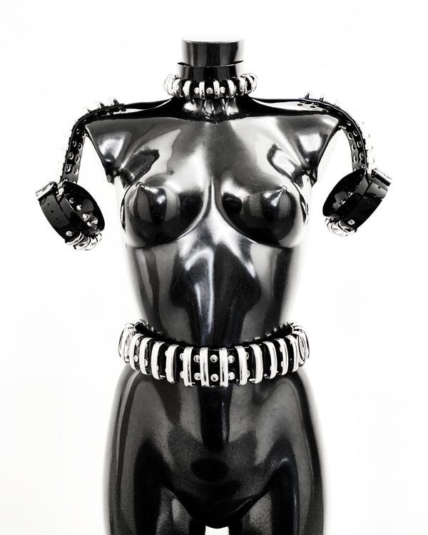 Jivomir Domoustchiev Multi Ring Shoulder Harness, Collar, Cuffs vegan vinyl hand crafted made in London