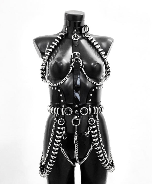 Multi Ring Chain Harness Dress 'The Lady Gaga' by Jivomir Domoustchiev. This stunning harness dress is based on the custom dress created for the incredible Lady GAGA Rain on Me music video.