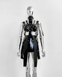 Jivomir Domoustchiev PVC vegan Vinyl Future Gladiator multi buckle harness dressJivomir Domoustchiev PVC vegan Vinyl Future Gladiator multi buckle harness dress