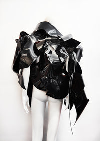 JIVOMIR DOMOUSTCHIEV ASYMMETRIC ART SCULPTURE JACKET VEGAN VINYL EXXPRESSION