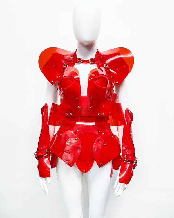 Jivomir Domoustchiev vegan vinyl sculpture fashion accessories hand crafted made in London kink avant garden future luxury rave latex vegan fashion future robot