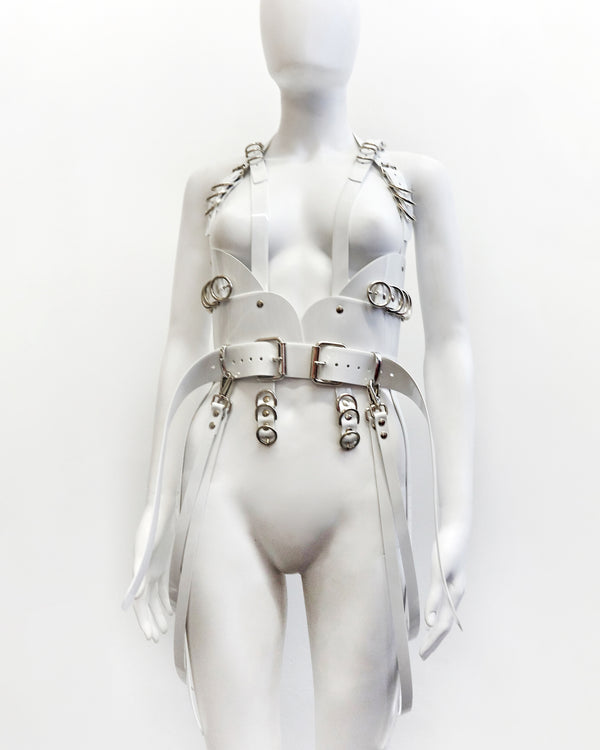 Jivomir Domoustchiev x Xtina Christina Aguilera multi buckle harness in vegan vinyl crafted to order luxury future fashion