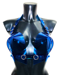 Transparent blue sculpture heart love valentines vegan vinyl bra