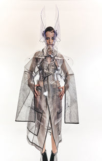 Jivomir Domoustchiev SS19 transparent vinyl sculpture art coat