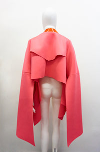 Jivomir Domoustchiev Neoprene raw edge split sleeve cape jacket with clear red vinyl trim sculpture belt