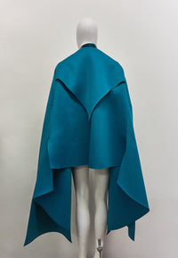 Jivomir Domoustchiev Neoprene raw edge split sleeve cape mid jacket