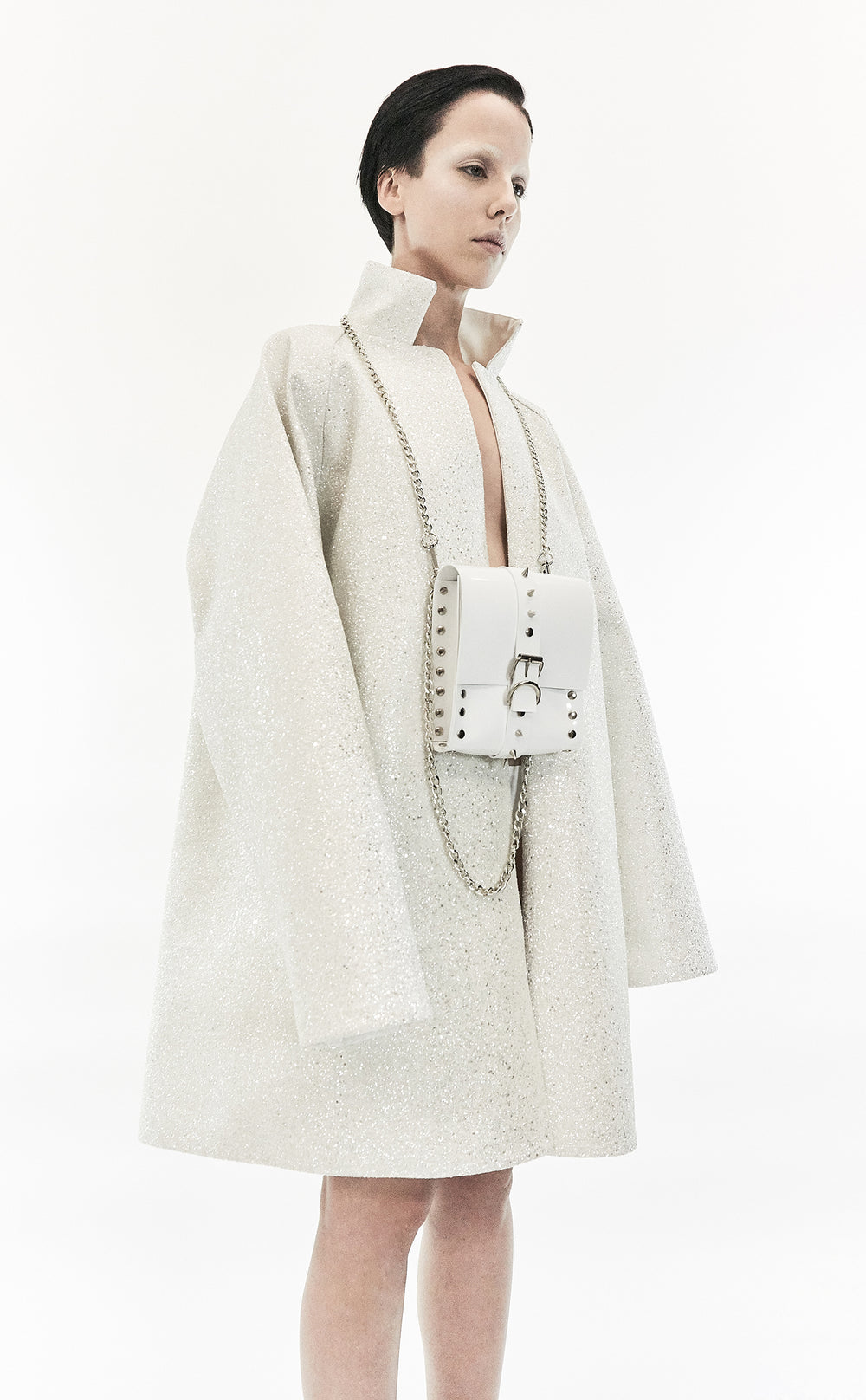 Jivomir Domoustchiev glitter luxury coat made in London hand crafted