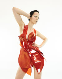 Jivomir Domoustchiev SS19 asymmetric vegan vinyl sculpture art dress