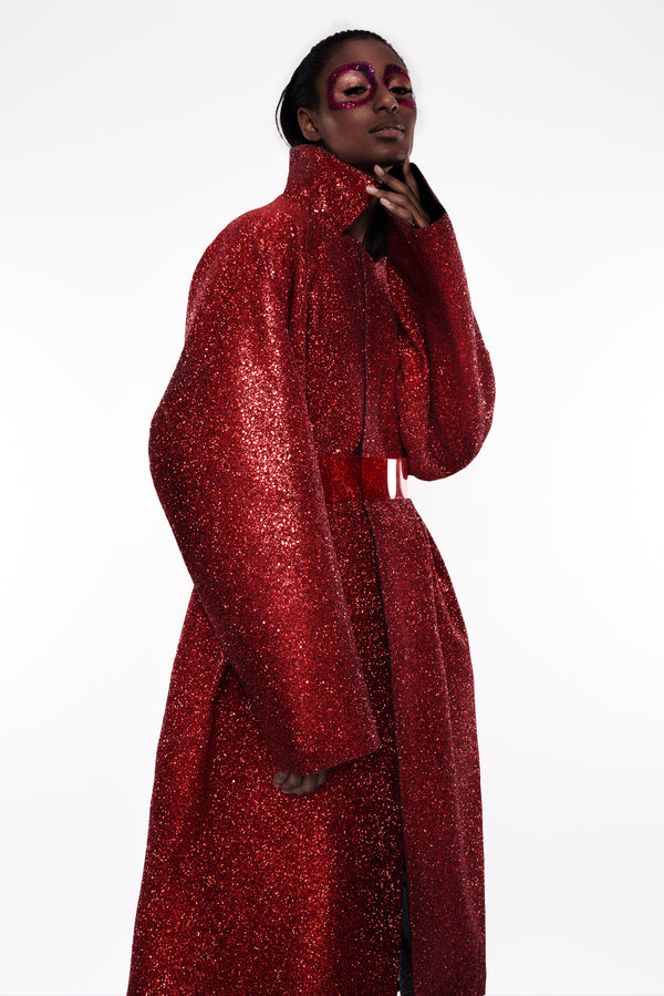 Jivomir Domoustchiev Glitter Coat red