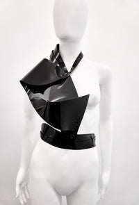 Jivomir Domoustchiev vinyl sculpture half harness belt blackJivomir Domoustchiev vegan vinyl transparent hand body harness kink fetish cosplay future robot