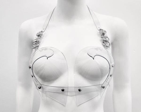 Jivomir Domoustchiev heart shaped vinyl bra clear