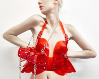 Jivomir Domoustchiev vinyl sculpture bustier transparent red