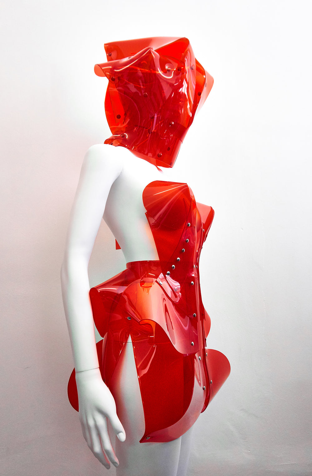 Jivomir Domoustchiev transparent red vinyl sculpture mini dress