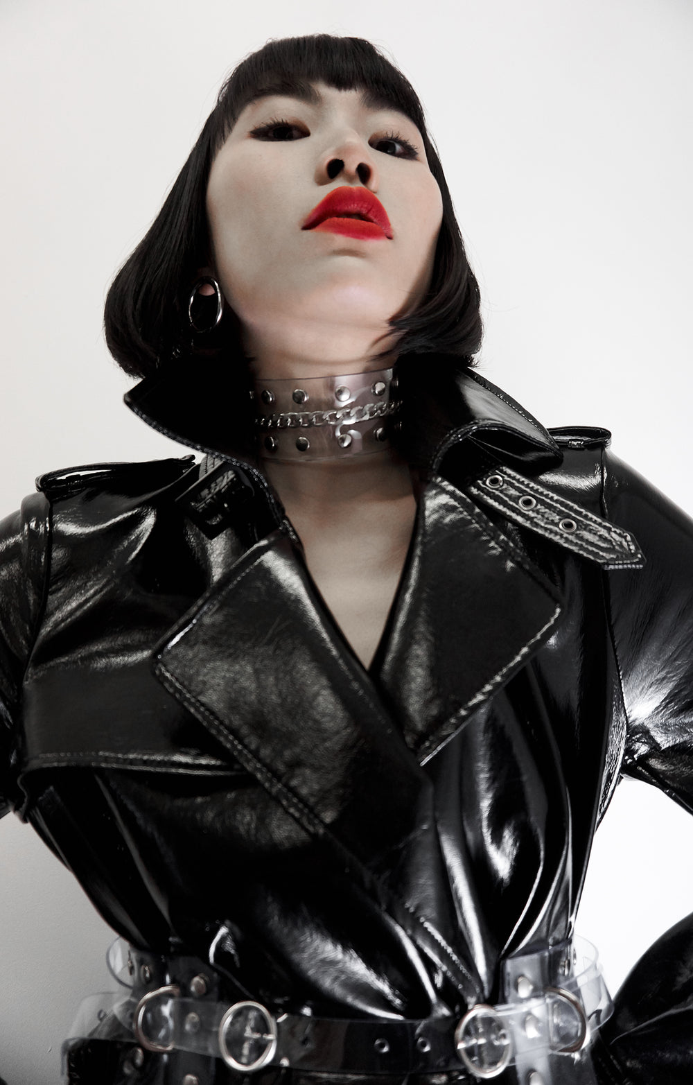 Clear Vinyl studded collar with chain detailed Jivomir Domoustchiev