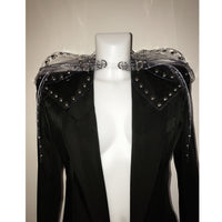 Jivomir Domoustchiev  Studded PVC  Sculpted mini belted Collar jacket  .  Also available to order in a variety of  colours.