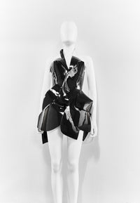 Jivomir Domoustchiev black vegan vinyl sculpture dress