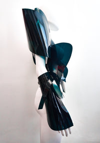 Jivomir Domoustchiev Teal vinyl sculpture symmetrical jacket A must have collectible piece hand crafted and available in a verity of colours. Pls contact@jivomirdomoustchiev.com Own a piece of collectible fashion sculpture. Can be made in any of the vinyl colours offered and looks stunning over everything.  Shown with matching skirt and bustier over coat all available separately.  Please provide sizing required upon purchase.