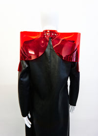Jivomir Domoustchiev sculpture vegan vinyl shoulder pads jacket transparent red