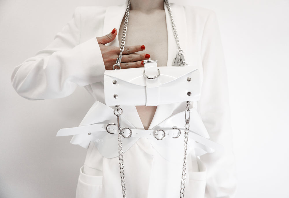 The Ines - Jivomir Domoustchiev white vinyl studded chain bag