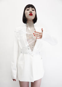 Jivomir Domoustchiev vegan vinyl transparent hand body harness kink fetish cosplay future robot
