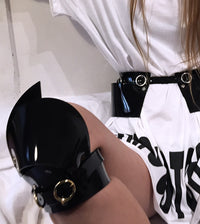 Jivomir Domoustchiev vegan vinyl fashion knee pads and crafted made in london love