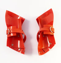 Vinyl PVC Glove / Cuffs  Finished with silver tone buckles and studding.  Hand crafted in London by Jivomir Domoustchiev. Adjustable fastening and  extra long straps allowing for various styling options   One size .  (As featured in Vogue Italia) Sold as pair. Must have luxury accessories collectible and available in a variety of colours